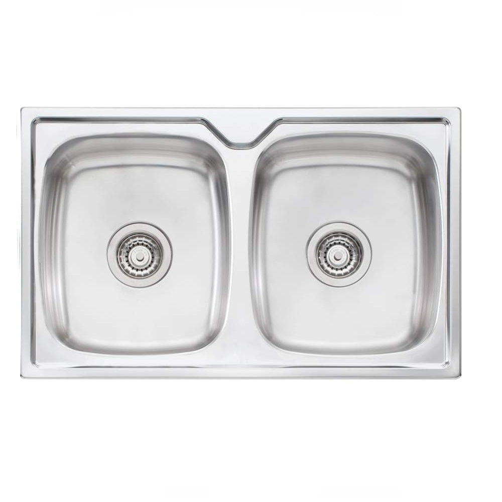Oliveri Endeavour Sink 770 x 480 Double Bowl 1 Tap Hole Stainless Steel (4358685196348)