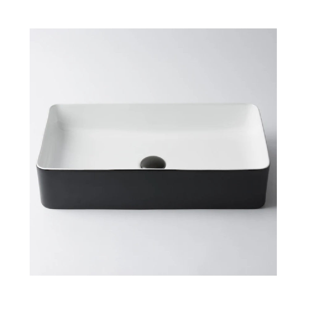 Eight Quarters Basin Bellevue Large Rectangle Matte Black & White EQXIBE4 (4451817619516)