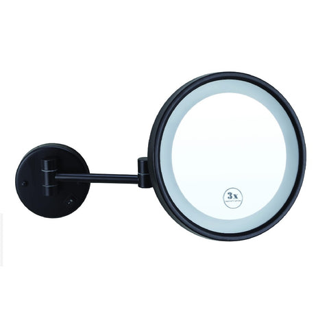 Thermogroup Ablaze Magnifying Mirror Lit Wall Mount x3 Matte Black (Concealed Wiring) (4358678642748)