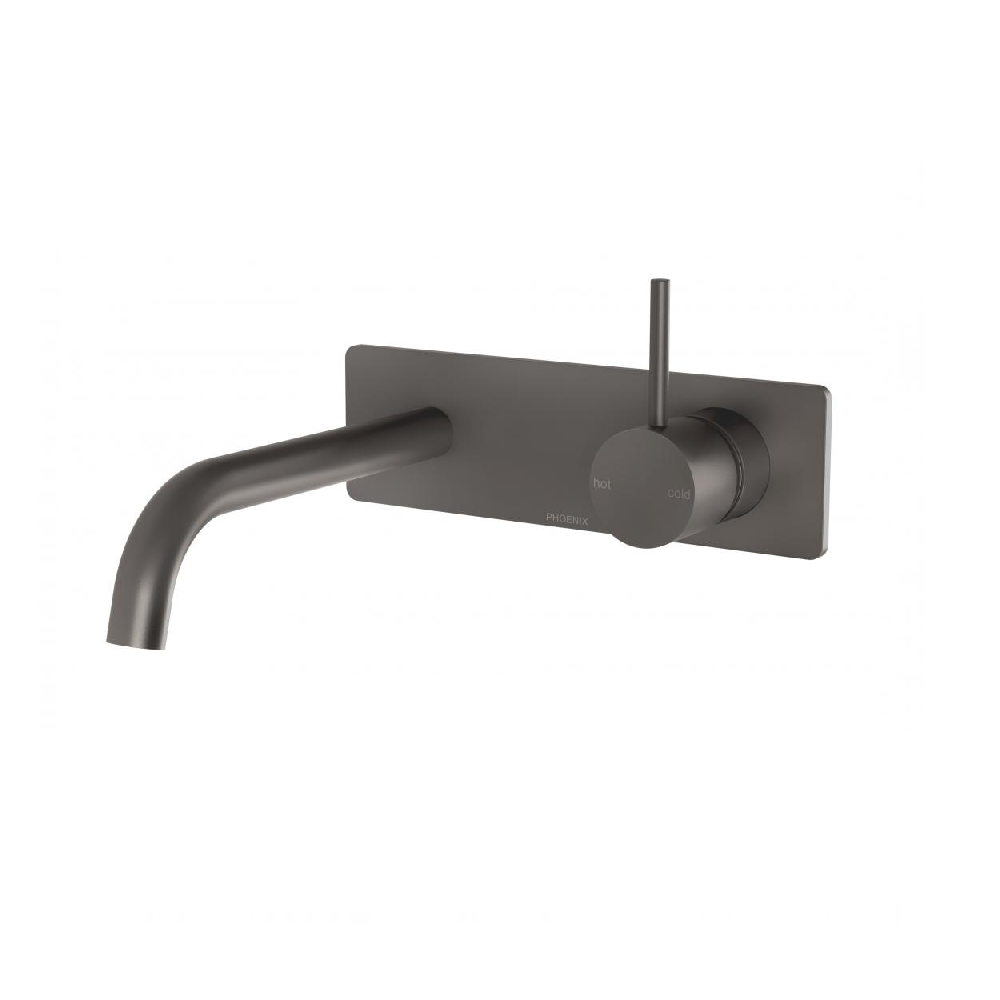 Phoenix Vivid Slimline Up Wall Basin/ Bath Mixer Set Gun Metal (4414610636860)