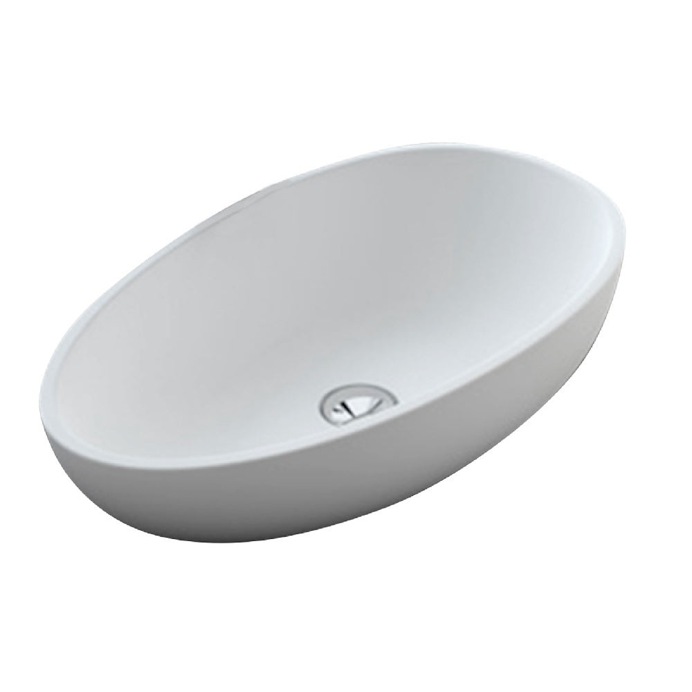 Fienza Above Counter Solid Surface Basin Bahama MK11 Matte White CSB61 (2530540552252)