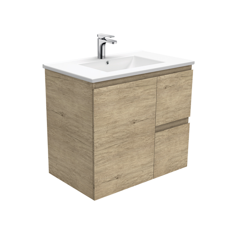 Fienza Dolce Edge Scandi Oak 750mm Vanity Wall Hung (Left Drawers) Oak TCL75SL (4505111986236)
