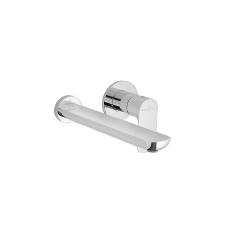 Villeroy & Boch O.novo Wall Mount Basin Mixer with Square Backplate Chrome (3866755137596)