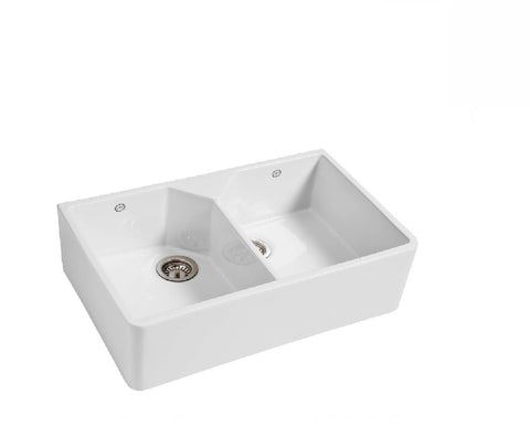 1901 Double Bowl Butler Sink 800mm Fireclay White
