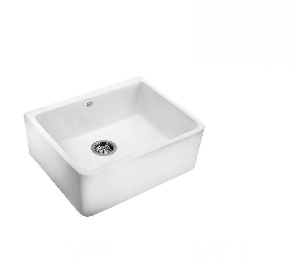 1901 Apron Sink 595mm Fireclay White (2530525904956)