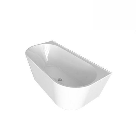 Decina Alegra Back to Wall Freestanding Bath 1500x800x600mm - White (2530527936572)