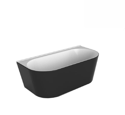 Decina Alegra Back to Wall Freestanding Bath 1700x800x600mm - Black/ White (2530527379516)