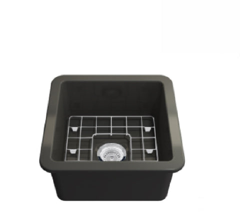 Turner Hastings Butler Cuisine Single Bowl Sink 46 x 46 Matte Black (2530554183740)