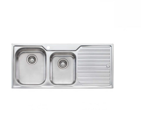 Oliveri Diaz 1 and 3/4 Bowl Sink with Drainer Stainless Steel (2530529706044)