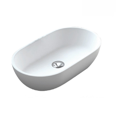Fienza Above Counter Solid Surface Basin Nero Matte White CSB63 (2530540585020)