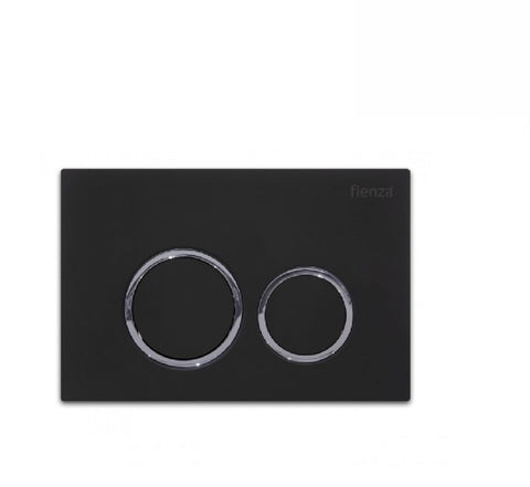 Fienza Flush Plate Matte Black Round Button (2530549268540)