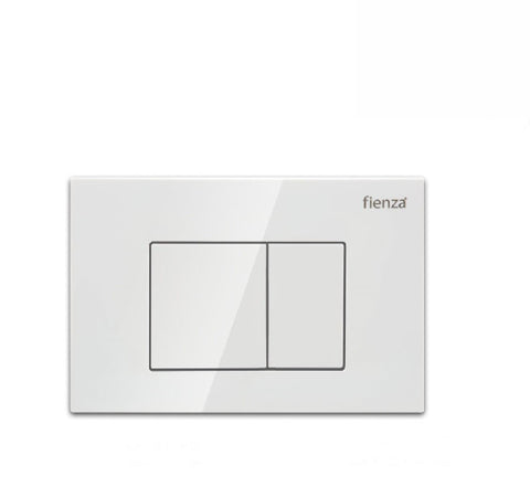 Fienza Flush Plate Gloss White Square Button (2530549399612)