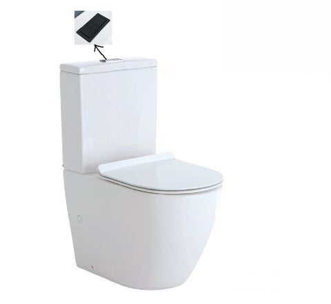 Fienza Toilet Back to Wall Koko Rimless Thin Seat White - Matte Black Buttons (2530541994044)