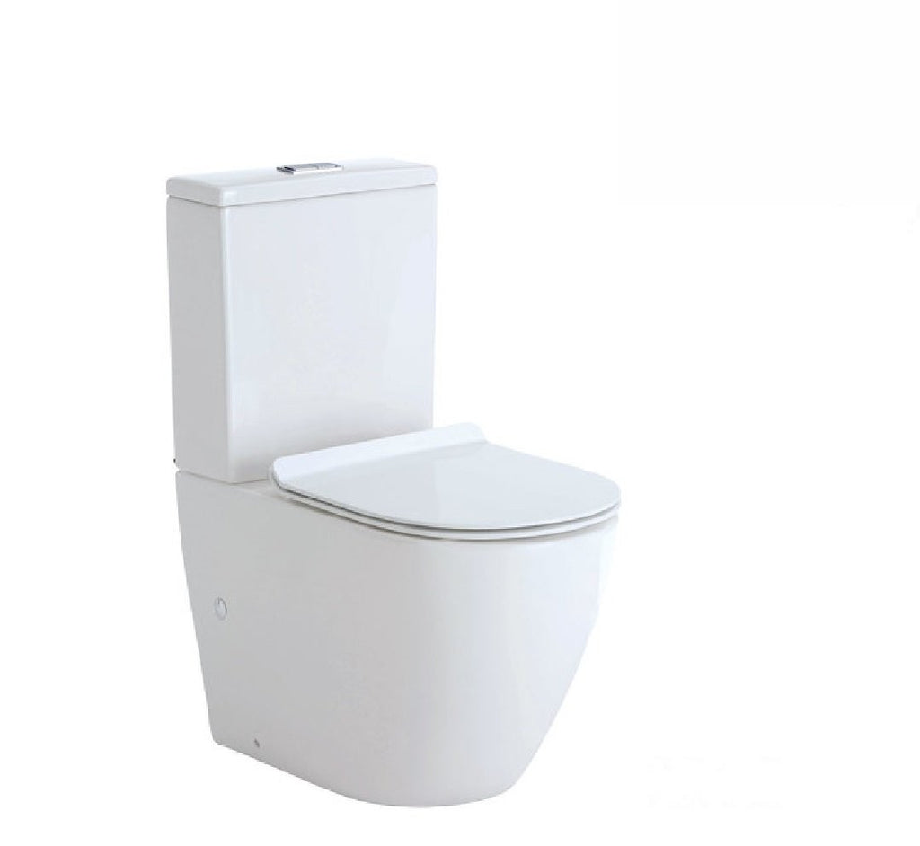 Fienza Toilet Back to Wall Koko Rimless Thin Seat White - Chrome Buttons