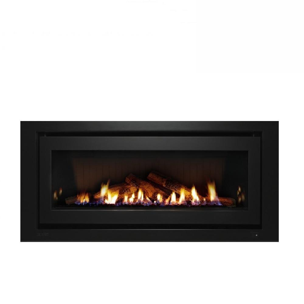 Rinnai 1250 Gas Log Fire in Black with Direct Flue Kit- Natural Gas