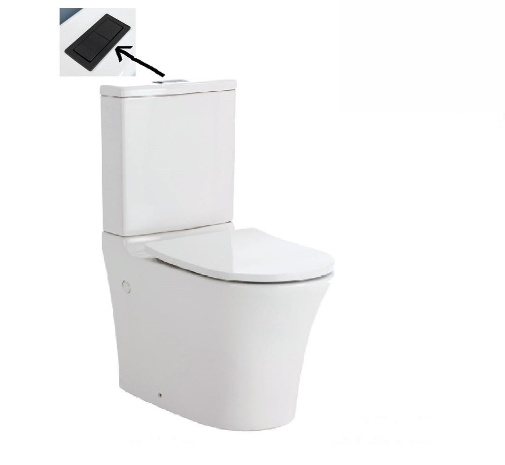 Fienza Toilet Back to Wall Luciana Rimless White - Matte Black Buttons
