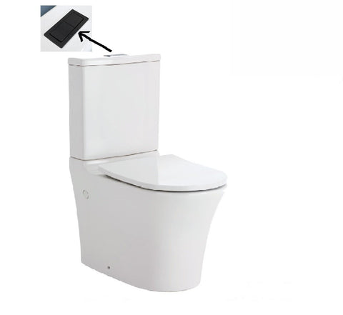 Fienza Toilet Back to Wall Luciana Rimless White - Matte Black Buttons (2530541928508)