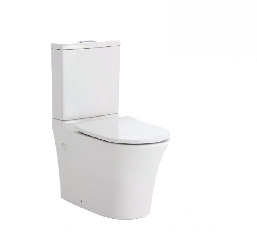 Fienza Toilet Back to Wall Luciana Rimless White - Chrome Buttons (2530541699132)