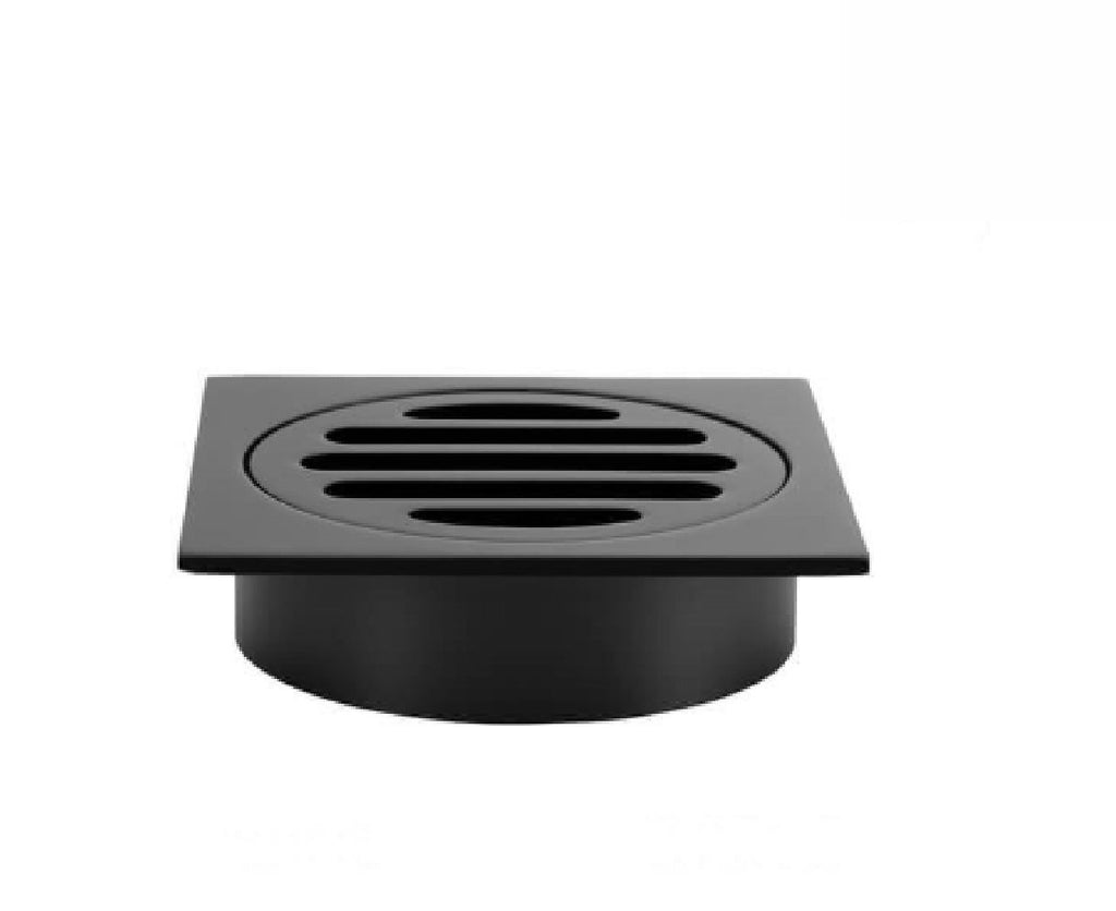 Meir Floor Grate 80mm Square Short Neck Matte Black (2530542846012)