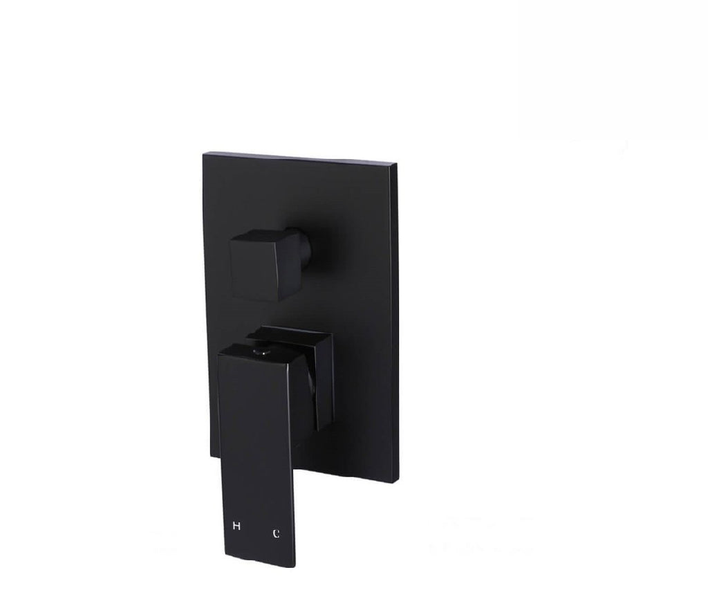 Meir Shower/ Bath Wall Mixer Square with Diverter MW02  Matte Black (2530550972476)
