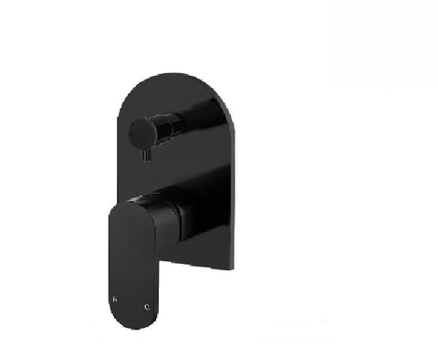 Meir Shower/ Bath Wall Mixer Curve with Diverter MWZ02 Matte Black (2530553036860)