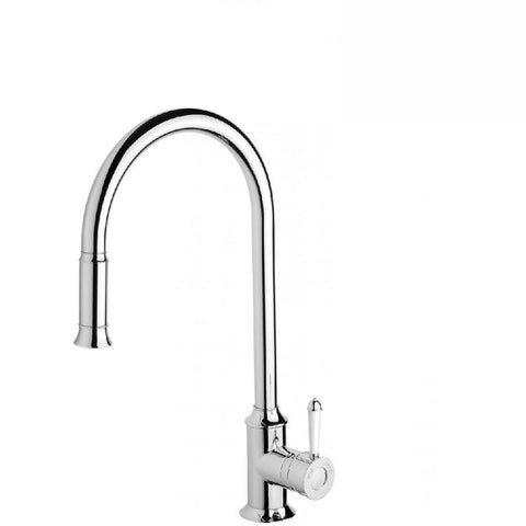 Phoenix Nostalgia Pull Out Sink Mixer Chrome/ White (4129898397756)
