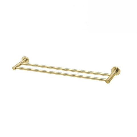 Phoenix Radii Double Towel Rail 800mm Round Plate Brushed Gold (4129900855356)