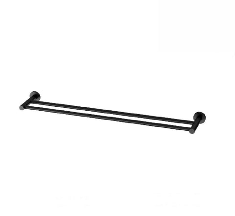 Phoenix Radii Double Towel Rail 800mm Round Plate Matte Black (2530535112764)