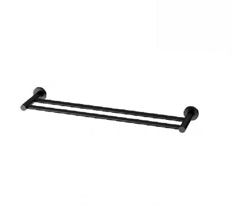 Phoenix Radii Double Towel Rail 600mm Round Plate Matte Black (2530535145532)