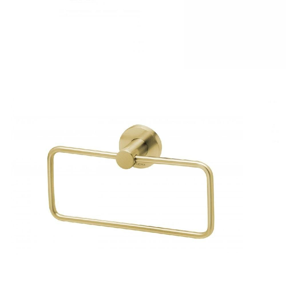 Phoenix Radii Hand Towel Holder Round Plate Brushed Gold (4129901903932)