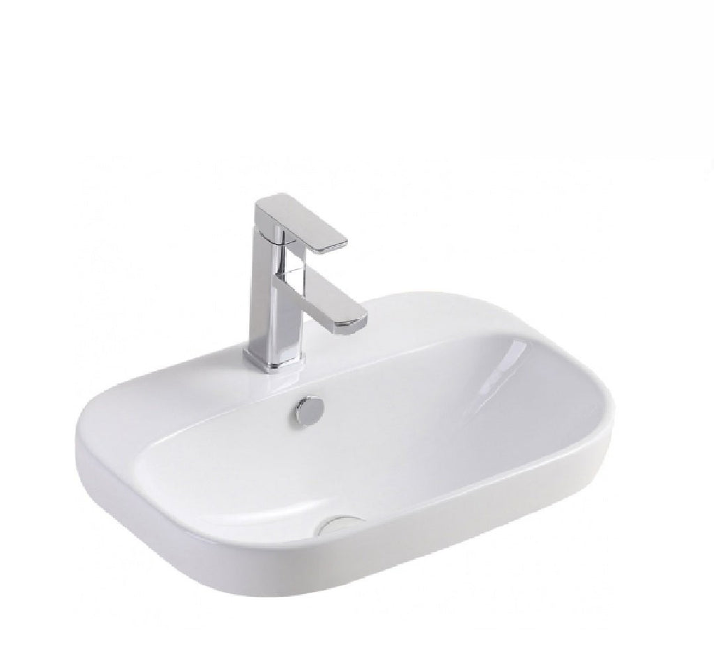 Fienza Semi Inset Ceramic Basin Parisa 1th White (2530541011004)