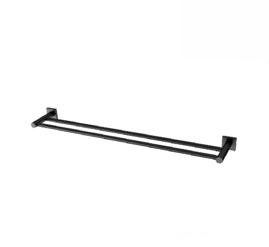 Phoenix Radii Double Towel Rail 800mm Square Plate Matte Black (2530535407676)