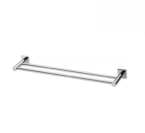 Phoenix Radii Double Towel Rail 600mm Square Plate Chrome (2530534817852)