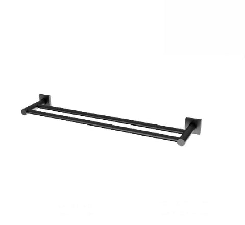 Phoenix Radii Double Towel Rail 600mm Square Plate Matte Black (2530535374908)