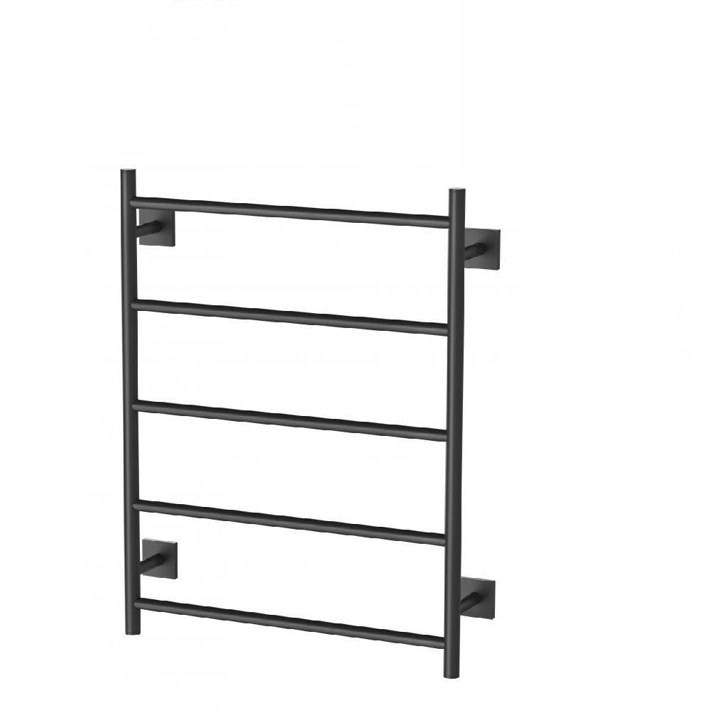 Phoenix Radii Heated Towel Ladder 550 x 740mm Square Plate Matte Black (4129903444028)