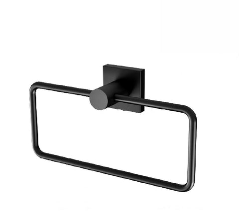 Phoenix Radii Hand Towel Holder Square Plate Matte Black (2530535473212)