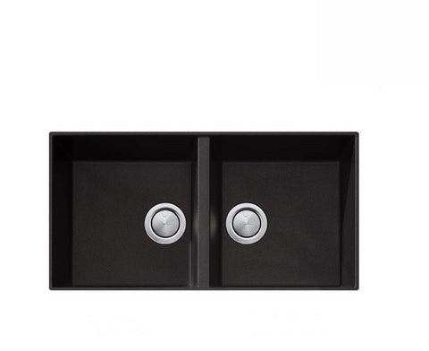 Oliveri Santorini Black Double Bowl Undermount Sink (2530529804348)