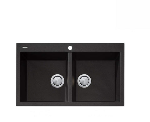 Oliveri Santorini Black Double Bowl Inset Sink (2530529574972)