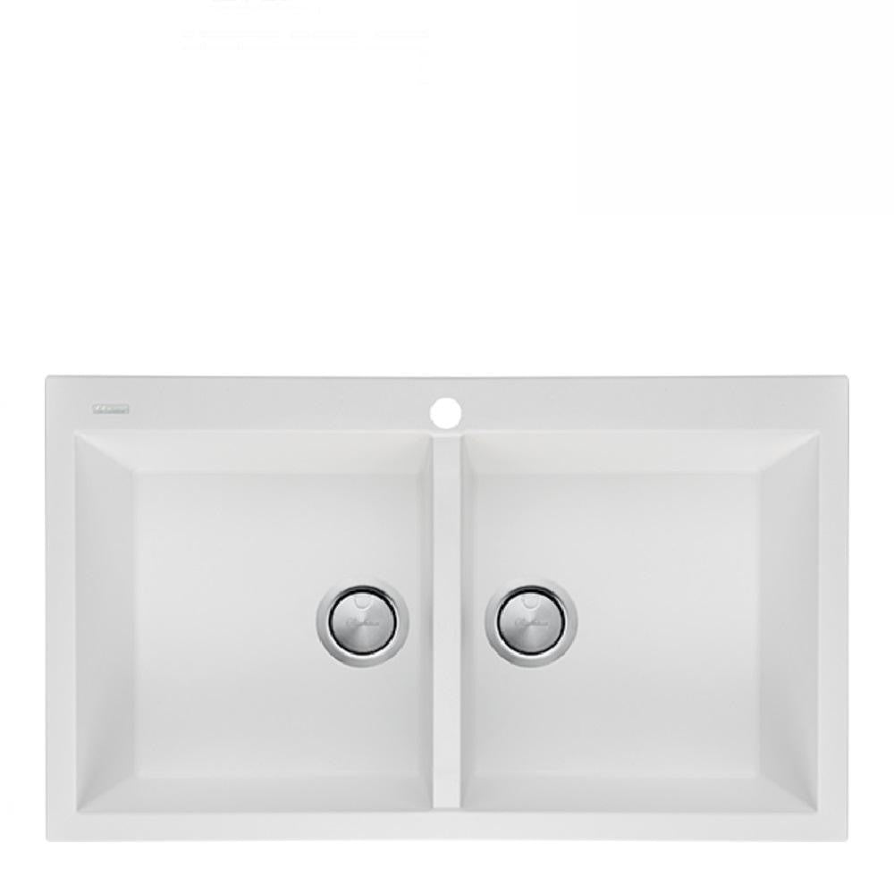 Oliveri Santorini Sink Double Bowl 860 x 510mm Top Mount 1th White (4129889583164)