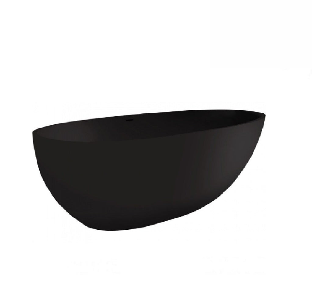 Fienza Bahama Cast Stone Solid Surface Bath 1700mm Matte Black (2530539634748)