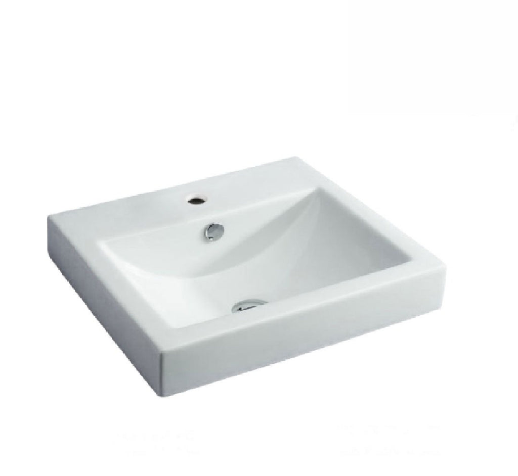 Fienza Semi Inset Ceramic Basin Low Profile 1th White (2530541142076)