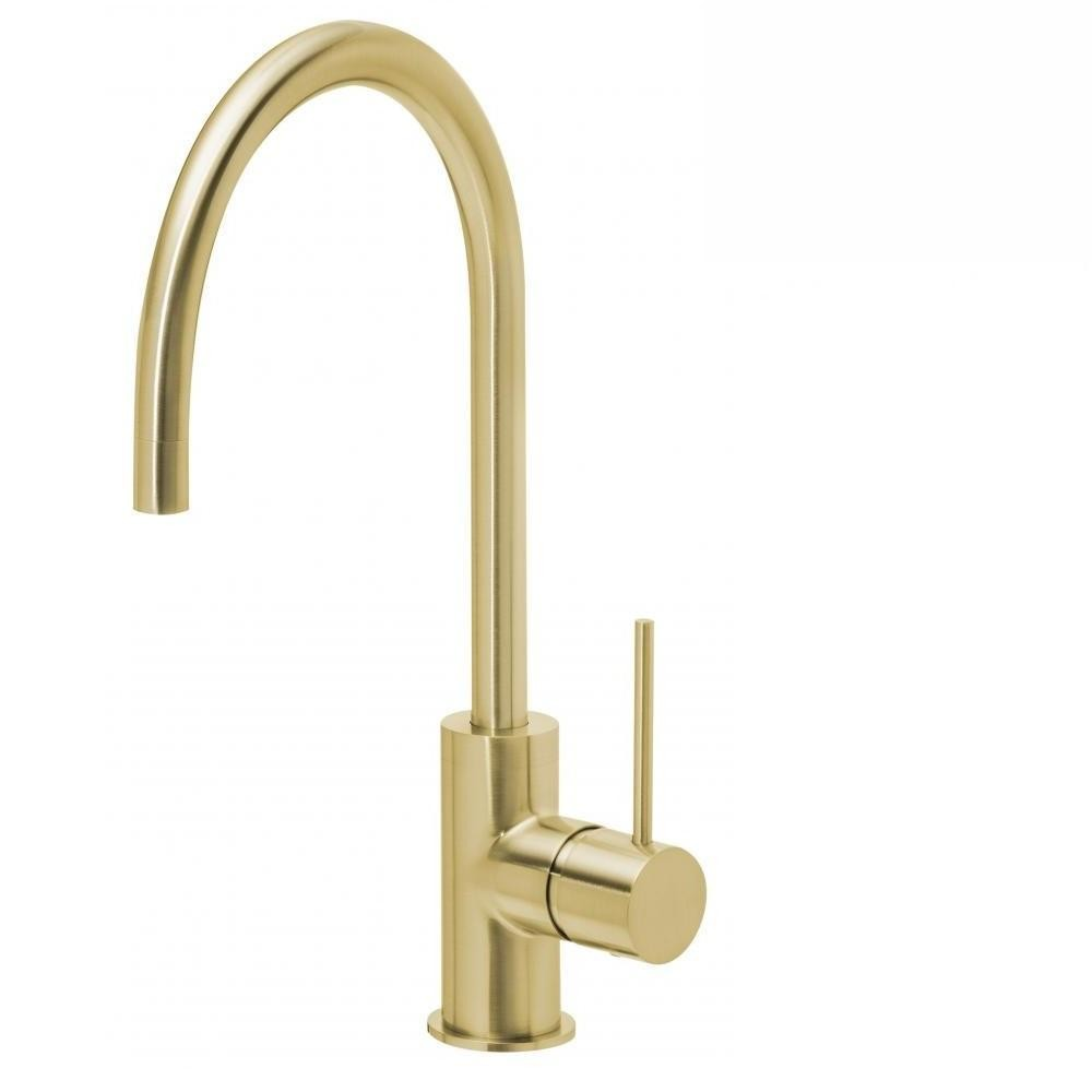 Phoenix Vivid Slimline Sink Mixer 220mm Gooseneck Brushed Gold (4129906786364)
