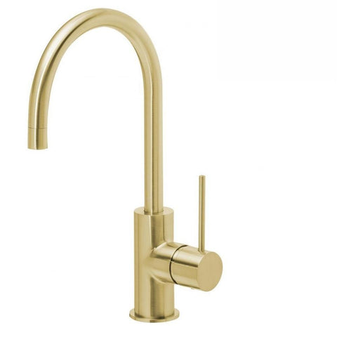 Phoenix Vivid Slimline Sink Mixer 160mm Gooseneck Brushed Gold (4129906917436)