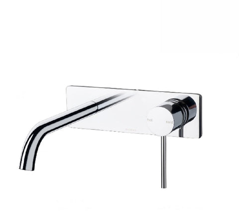 Phoenix Vivid Slimline Wall Basin Mixer Set 180mm Curved Chrome (2530531213372)