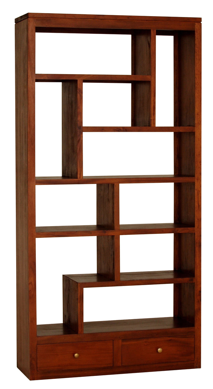 10 Cube Shelf with 2 Drawer (Light Pecan)