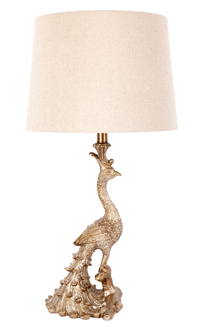 Peacock Table Lamp - Gold