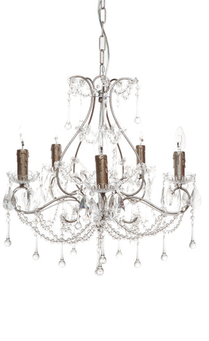 Houston Chandelier - 5 Arm Antique Silver