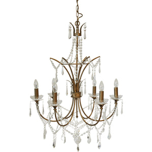 St Pierre Chandelier - 6 Arm Antique Gold
