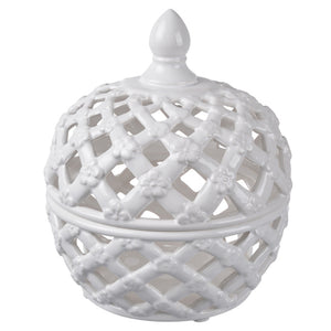 Lattice Decorative Lidded Jar, Small