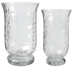 Hurricane Glass Vase, Set of Two